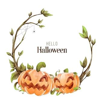 Koncepcja ramki akwarela halloween