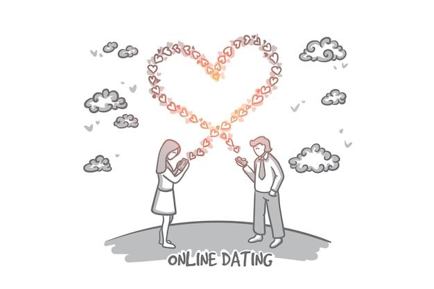 Koncepcja randek online. ręcznie rysowane młody mężczyzna i kobieta wysyłanie wiadomości o miłości. szczęśliwa kobieta wysyłanie wiadomości tekstowej miłości na telefon komórkowy ilustracja na białym tle.