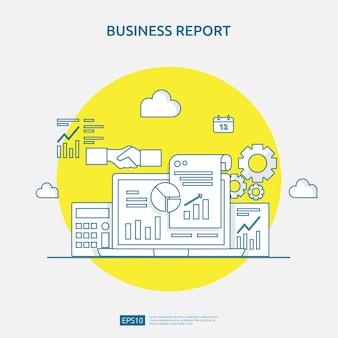 Koncepcja raportu danych dokumentu wykresu dla statystyk biznesowych, analizy inwestycji, planowania badań i księgowości audytu finansowego z arkuszem papieru, rękami, lupą, dokumentacją, wykresami, elementem wykresów