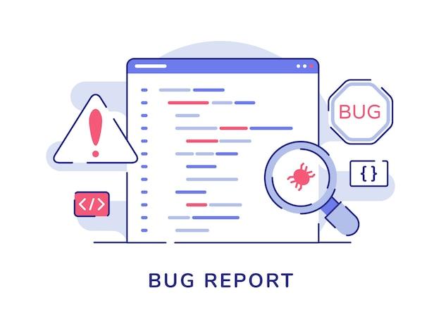 Koncepcja raportu o błędzie powiększająca błąd na komputerze programu ze stylem płaskiego konturu