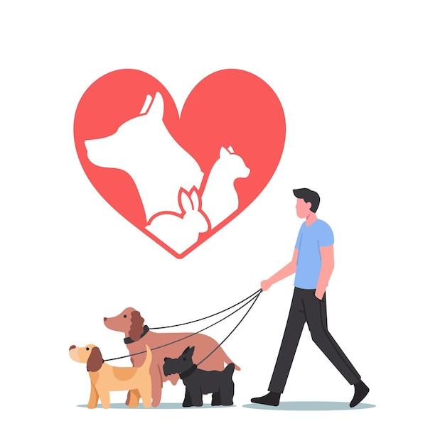 Koncepcja ratowania i ochrony zwierząt. męski charakter spaceru z zespołem adoptowanych psów. wypoczynek, komunikacja, miłość i opieka nad zwierzętami. ludzie adoptują koty, psy lub króliki. ilustracja kreskówka wektor
