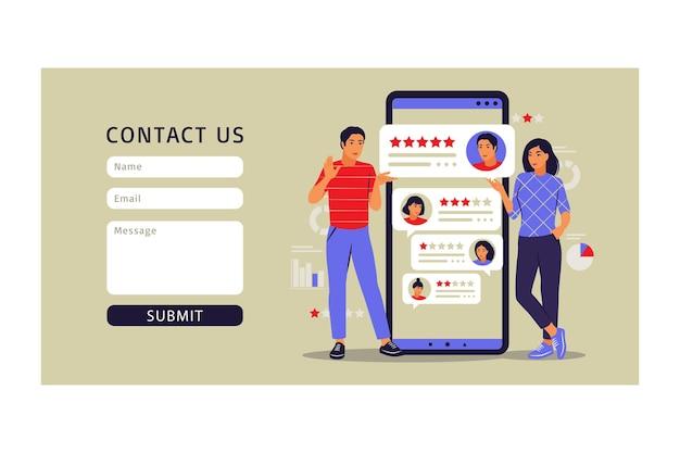 Koncepcja recenzji klienta. formularz kontaktowy. ilustracja wektorowa. mieszkanie