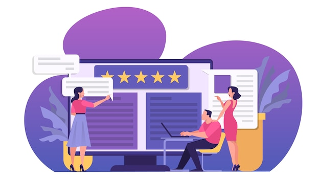 Koncepcja recenzji online. ludzie wystawiają opinie, dobre i złe