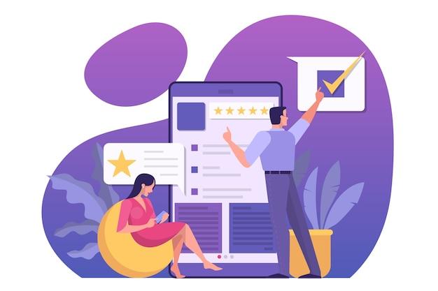 Koncepcja recenzji online. ludzie zostawiają opinie, dobre i złe komentarze. ocena w gwiazdkach, idea ankiety i oceny. ilustracja w stylu kreskówki