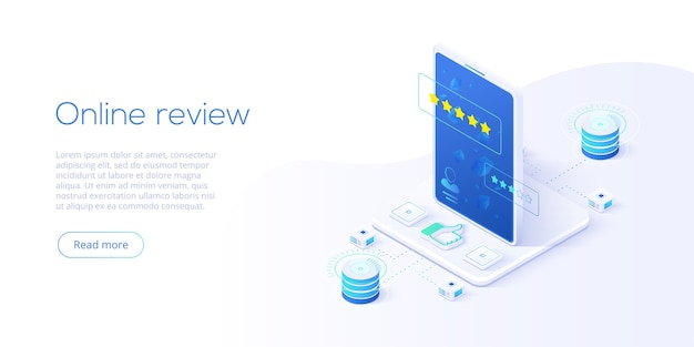Koncepcja recenzji online w ujęciu izometrycznym. badanie klientów lub ocena reputacji za pośrednictwem mobilnego internetu na smartfonie. usługa opinii użytkowników na temat produktu lub aplikacji. szablon układu banera internetowego.