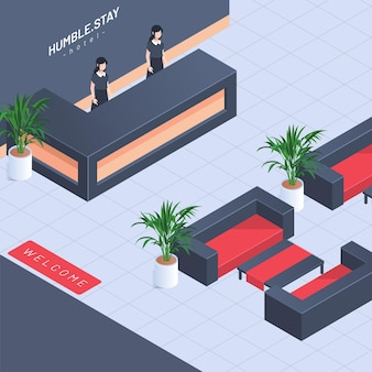 Koncepcja recepcji hotelu izometryczny