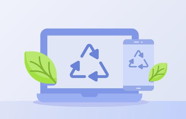 Koncepcja recyklingu odpadów elektronicznych recyklingu ikona trójkąt na wyświetlaczu smartfona na ekranie laptopa na białym tle