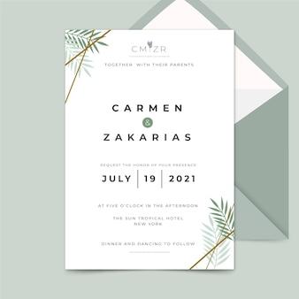 Koncepcja redaktora z zaproszeniem na ślub