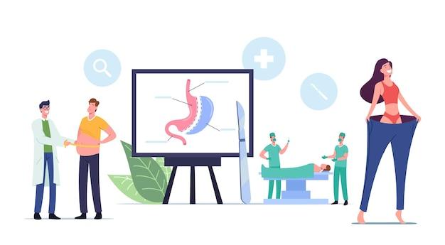 Koncepcja redukcji żołądka chirurgii bariatrycznej. pacjenci z nadwagą postacie płci męskiej lub żeńskiej z problemami z wagą odwiedź klinikę, aby zmniejszyć procedurę gastrektomii żołądka. ilustracja wektorowa kreskówka ludzie