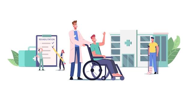 Koncepcja rehabilitacji. lekarz pchający wózek inwalidzki z ranną postacią z zabandażowaną nogą, pacjent ze złamaną kończyną, osoba niepełnosprawna o kulach z bandażem na stopy. ilustracja wektorowa kreskówka ludzie