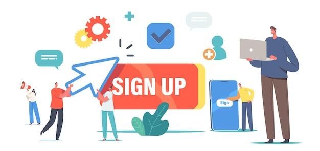 Koncepcja rejestracji online i rejestracji nowego użytkownika. małe postacie rejestrują się lub logują do konta na ogromnym smartfonie. bezpieczne hasło, aplikacja mobilna, dostęp do sieci. ilustracja wektorowa kreskówka ludzie