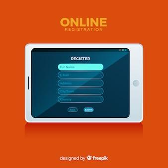 Koncepcja rejestracji online o płaskiej konstrukcji