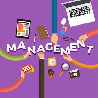Koncepcja ręka tworzy zarządzanie. ilustracje.