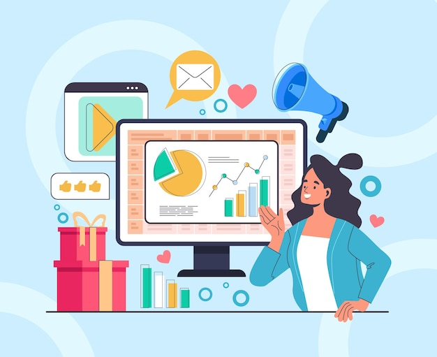 Koncepcja reklamy biznesowej marketingu mediów społecznościowych.