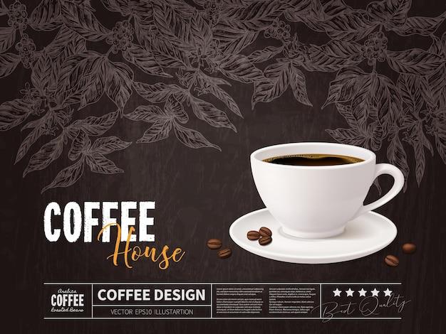 Koncepcja reklamy kawy z kubkiem napoju na rysunkach gałęzi drzewa kawowego