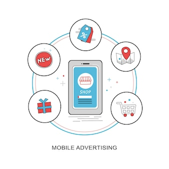 Koncepcja reklamy mobilnej w płaskiej, cienkiej linii