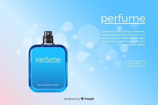 Koncepcja reklamy perfum w realistycznym stylu
