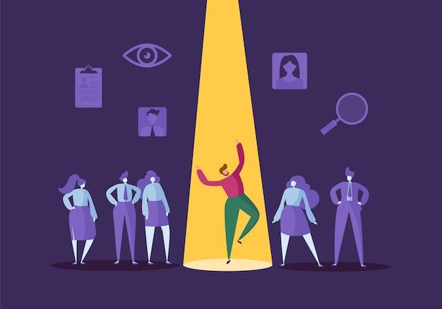Koncepcja rekrutacji firmy z płaskich znaków. pracodawca wybiera jednego mężczyznę z grupy ludzi. zatrudnianie, zasoby ludzkie, rozmowa kwalifikacyjna.