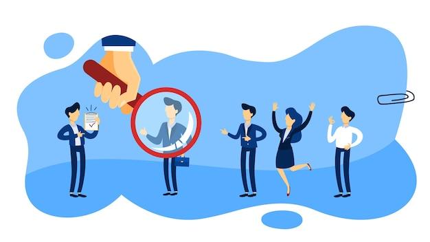 Koncepcja rekrutera. grupa osób wybierających kandydata do wynajęcia z lupą. zarządzanie zasobami ludzkimi. linia płaska