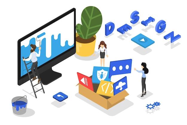 Koncepcja responsywnej sieci. rozwój strony internetowej. idea technologii komputerowej. prezentowanie treści na stronach internetowych, do których użytkownicy uzyskują dostęp przez internet. ilustracja izometryczna