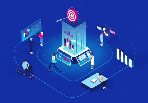 Koncepcja retargetingu lub remarketingu w projekcie izometrycznym. metodologia biznesowa, która przyciąga klientów poprzez tworzenie wartościowych treści i analiz. mieszkanie