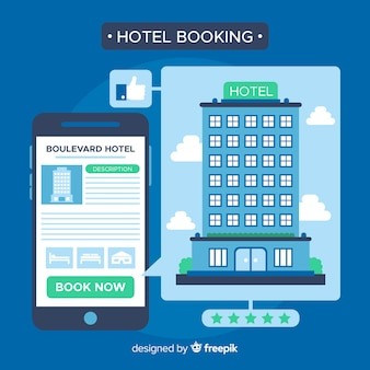 Koncepcja rezerwacji hotelu w stylu płaskiej