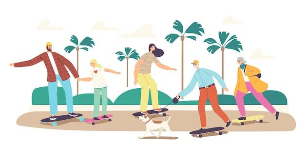 Koncepcja rodziny deskorolka. szczęśliwe postacie matka, ojciec, córka i dziadkowie z psem na łyżwach na zewnątrz na ulicy. aktywność letnia, zdrowy czas wolny. ilustracja wektorowa kreskówka ludzie