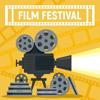Koncepcja rolki aparatu festiwalu filmowym, płaski