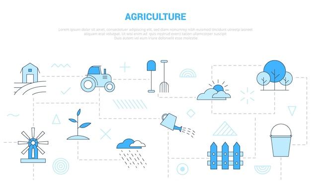 Koncepcja rolnictwa z ikoną zestaw szablonów banner z nowoczesną ilustracją wektorową w stylu niebieskiego koloru