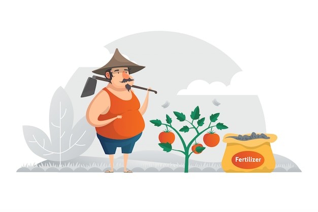 Koncepcja rolnik ilustracja