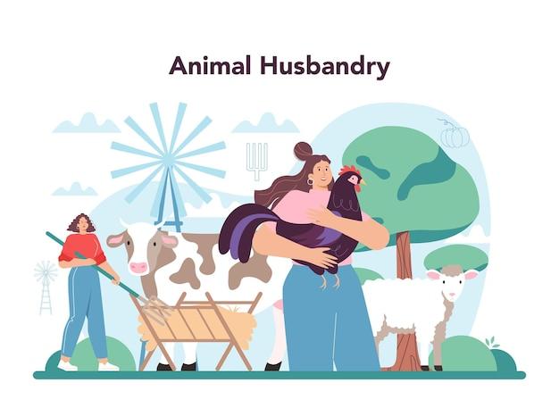 Koncepcja rolnika. firma zajmująca się hodowlą zwierząt. robotnik rolny karmiący zwierzęta. letni krajobraz wsi. płaska ilustracja wektorowa