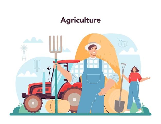 Koncepcja rolnika rolnik pracujący na polu uprawiającym rośliny i rośliny uprawne