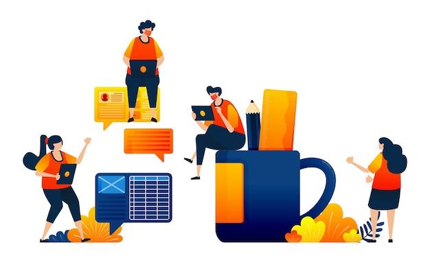 Koncepcja rozmowy dla strategii spotkań biznesowych filiżanka kawy z ołówkiem i linijką
