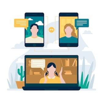 Koncepcja rozmowy wideo z laptopem