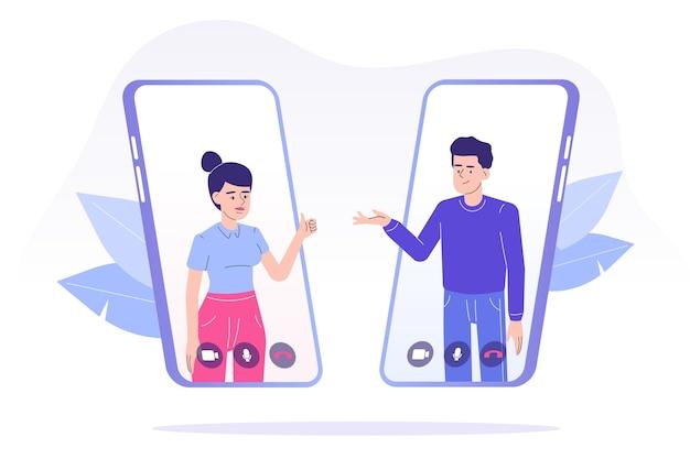 Koncepcja rozmowy wideo z osobami wykonującymi rozmowę wideo za pomocą aplikacji na smartfony