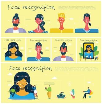 Koncepcja rozpoznawania twarzy. face id, system rozpoznawania twarzy z systemem intelektualnej nauki. płaskie nowoczesne elementy graficzne.