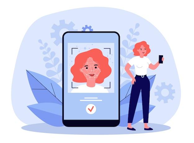 Koncepcja rozpoznawania twarzy. kobieta za pomocą smartfona po uwierzytelnieniu tożsamości. ilustracja technologii inteligentnej, ochrony danych, zagadnień rozpoznawania biometrycznego