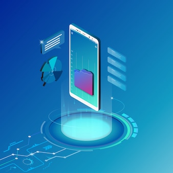 Koncepcja rozwiązania mobilnego technologii izometryczny projekt.