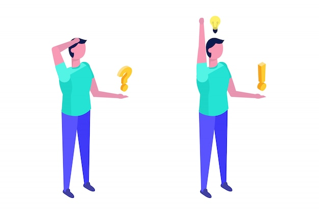 Koncepcja rozwiązywania problemów. izometryczny człowiek myśli z ikonami znaku zapytania i żarówki.
