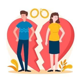 Koncepcja rozwodu ze zdenerwowanymi ludźmi