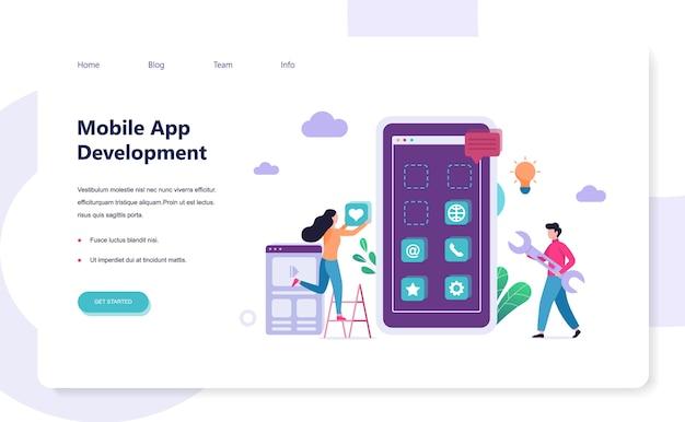 Koncepcja rozwoju aplikacji mobilnej. illsutration nowoczesnej technologii