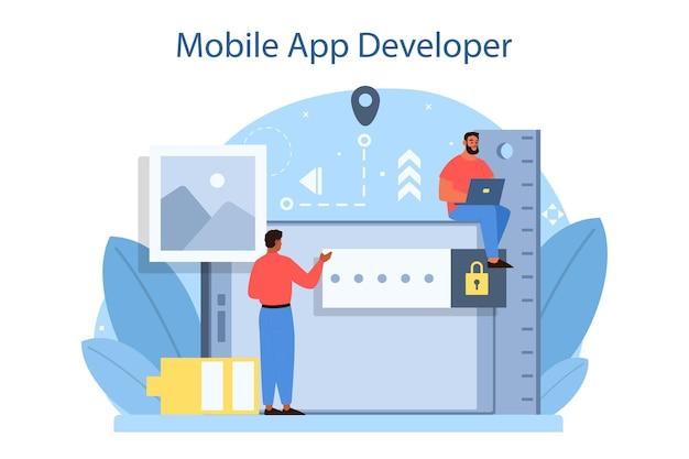 Koncepcja rozwoju aplikacji mobilnej. nowoczesna technologia i projekt interfejsu smartfona. tworzenie i programowanie aplikacji. płaskie ilustracji wektorowych