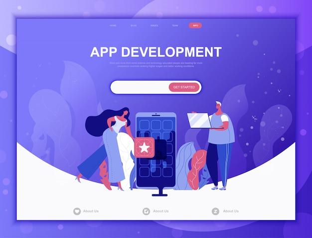 Koncepcja rozwoju aplikacji płaski, szablon strony docelowej strony internetowej