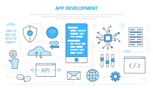 Koncepcja rozwoju aplikacji z szablonem zestawu ikon w nowoczesnym stylu niebieskim