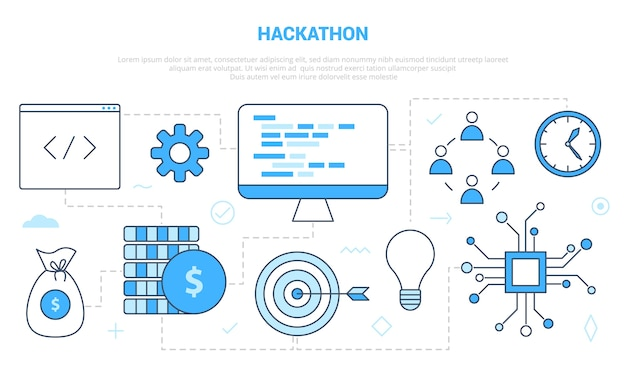 Koncepcja rozwoju hackathonu z szablonem zestawu ikon w nowoczesnym stylu niebieskim