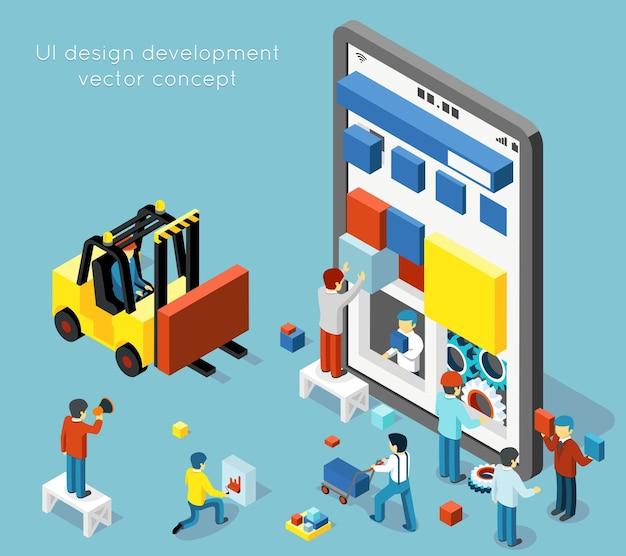 Koncepcja rozwoju interfejsu użytkownika smartfona w płaskim stylu izometrycznym 3d. rozwój smartfona, ilustracja interfejsu użytkownika technologii