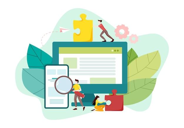 Koncepcja rozwoju strony internetowej. programowanie stron www i tworzenie responsywnych interfejsów na komputerze. interfejs mobilny i komputerowy. technologia cyfrowa. ilustracja