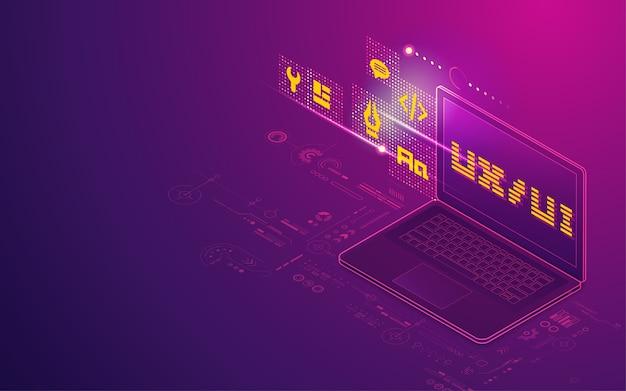 Koncepcja rozwoju ux ui, grafika laptopa z elementem technologii cyfrowej przedstawiona w rzucie izometrycznym