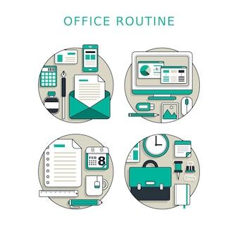 Koncepcja rutyny biurowej w stylu cienkiej linii