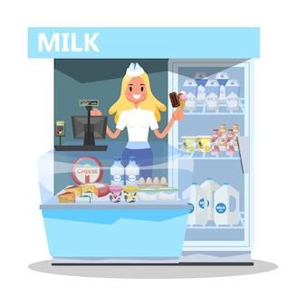 Koncepcja rynku mleka. szczęśliwa młoda kobieta stojąca